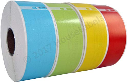 """Ships Fast 4 Rolls; 1 Roll of Each Color, 350 Labels Per Roll of Compatible with DYMO 30252 RED, Blue, Yellow and Green Address Labels (1-1/8"""" x 3-1/2"""") - BPA Free!"""