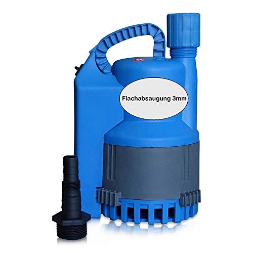 FLOW Tauchpumpe 12 bis 8500 Liter/Stunde mit Flachabsaugung bis 3mm und 10 Meter Anschlusskabel