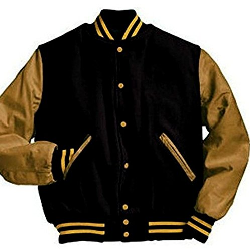 Windhound Original College Jacke schwarz mit camel Echtleder Ärmel M