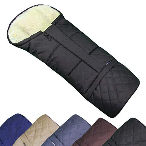 BAMBINIWELT Winterfusssack in Mumienform für Kinderwagen, Jogger, Buggy oder Schlitten, aus Wolle, Größe anpassbar, MUMIE RAUTE (schwarz)