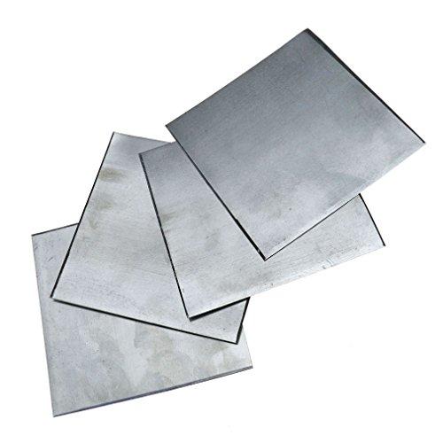 5pezzi di zinco puro. Piastra di zinco per laboratori di scienze - elevata purezza 99.99%, 100 x 100 x 0.2mm
