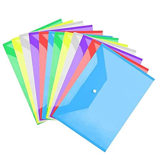 12PCS Cartelle Portadocumenti in Plastica, Cartelle di File Buste Colorate, A4 Portadocumenti, Cartelline con Bottone, A4 Portadocumenti, Trasparente Busta, Colori Portadocumenti