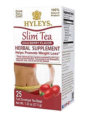Hyleys Slim Tea Goji Berry Flavor - Weight Loss Herbal Supplement Cleanse and Detox - 25 Tea Bags (1 Pack) from Hyleys Tea