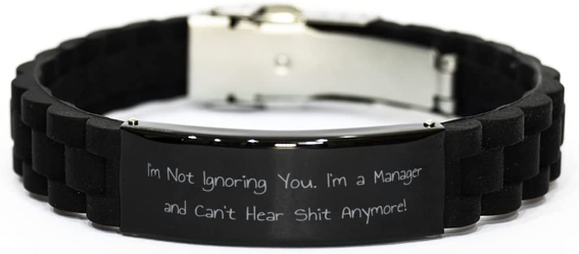 Cute Manager Gifts, I'm Not Ignoring You. I'm a Manager and Can't Hear!, Unique Black Glidelock Clasp Bracelet for Colleagues from Coworkers