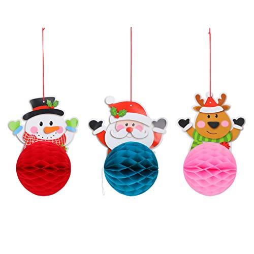Holibanna Weihnachten Waben Dekorationen Hängen Ornament: Santa Schneemann Elch Banner Bunting Flagge 3Pcs Weihnachten Baum Ball für Urlaub Kaminsims Party Favors