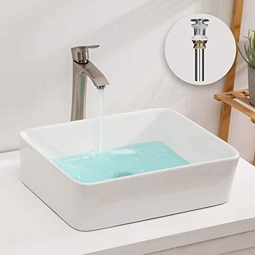 洗面台 白陶器製 手洗いボウル 角形洗面器 ベッセル式 手洗器 排水金具付き