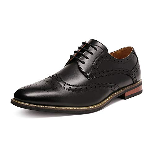 Bruno HOMME MODA ITALY PRINCE Men's Classic Modern Oxford Wingtip Lace Dress Shoes,PRINCE-3-BLACK,10.5 D(M) US