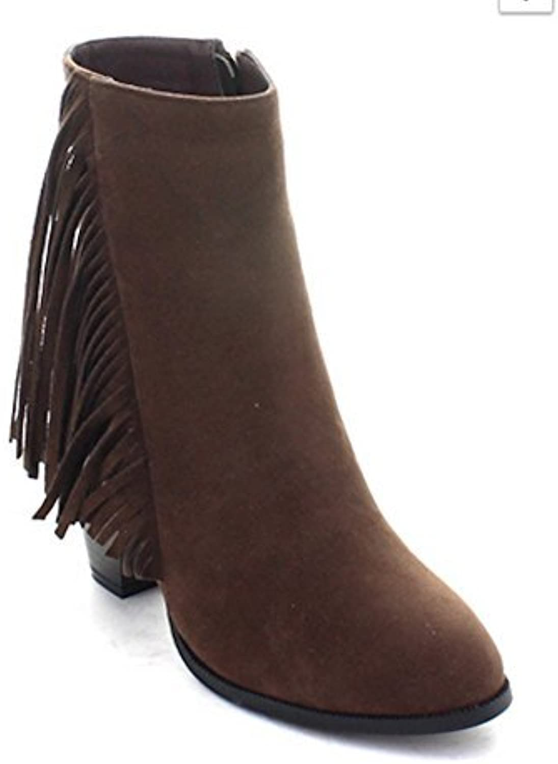 La Bella Fashion Women's greenical Fringe Stacked Heel Round Toe Ankle Dress Boots in Black, Brown, Camel