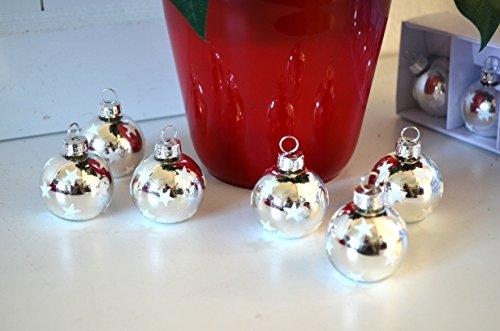 HKT Home Deco Platzkartenhalter Weihnachtskugel 6 Stück Set Silber Tischkartenhalter Weihnachten Kartenhalter 4cm