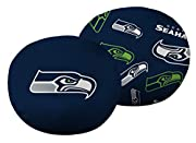 """Features NFL team logo on one side; repeating team logos on other side 3D travel cloud pillow; extremely soft, super stretchy, and ultra-comfortable Measures 11"""" round Spot clean only"""