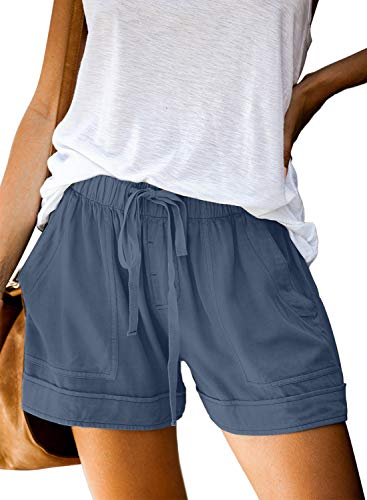 Acelitt Women Ladies Summer Trendy Casual Loose Dressy Elastic Drawstring Waist Shorts with Pockets Blue Small