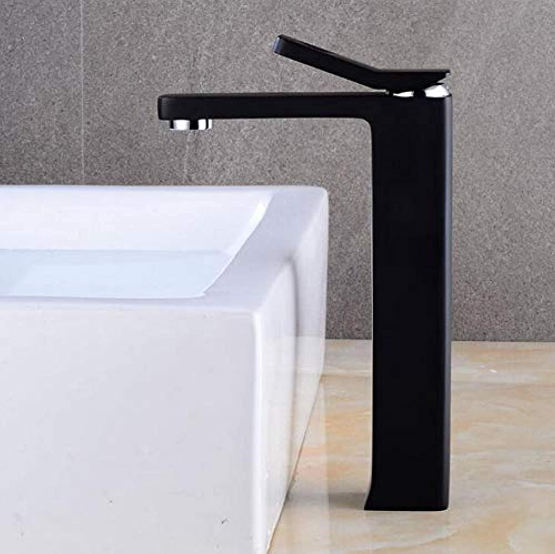 CZOOR Waschtischarmaturen Elegante Waschbecken Mischbatterie Bad Wasserhahn Warm und Kalt Chrom Finish Messing Waschbecken Wasserkran Schwarz