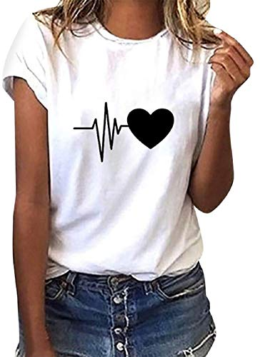 Tuopuda Camiseta de Mangas Cortas Mujer Corazón Impresión tee Clásico con Cuello en Redondo Basica Camiseta Ligera de Algodón Ablandado Verano Casual Tops