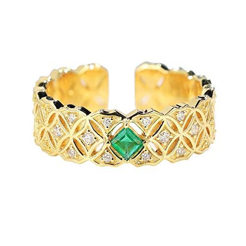 ANAZOZ Echtschmuck Ring Damen 18 Karat 750 Gold Münzen Retro Hohl 0.1Ct Smaragd Grün Eheringe Trauringe Hochzeitsringe Brilliant Solitär-Ring Diamantring Schmuck für Frauen Größe:58 (18.5)