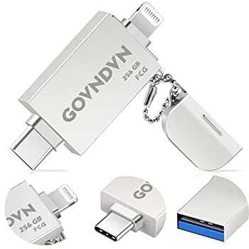 Apple MFi Certified 256GB iPhone-Photo-Stick 3 in 1 iPhone USB-Flash-Drives iPhone-Drives iPhoto Photo Storage iPhone Memory-Stick iPhone Thumb-Drives Backup Stick for iPhone iPad USB C Phone PC