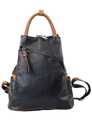 irisaa Damen Rucksack Daypack Tasche Umhänge Tasche Schulrucksack Schultertasche für Frauen und Mädchen, Damen Tasche:Schwarz Braun