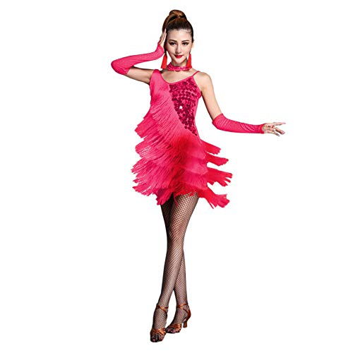 Xinvivion Latín Vestido de Baile para Mujer - Vals Salón de Baile Bailando Traje de práctica Lentejuela Borla Ropa de Baile