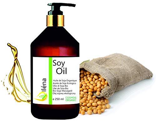 Oïléna Huile de massage Biologique de Soja, Huile corporelle Organique pour massages et hydratant Pressée à froid, Vegan, 100% pure et légère (250 ml)