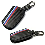 iJDMTOY M-Colored Stripe Black Carbon Fiber Pattern Leather Key Holder with Keychain Compatible With BMW 1 2 3 4 5 6 7 Series X3 Remote Fob