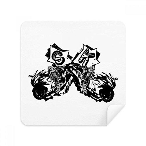 DIYthinker zwarte motorrijder motorfiets patroon bril schoonmaken doek telefoon scherm reiniger suède stof 2 Stks