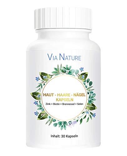 PowerSupps Via Nature hochdosierte Kapseln für HAUT + HAARE + NÄGEL mit Zink, Biotin, Brennessel und Selen - Vitamine und Mineralstoffe für Männer und Frauen - Nahrungsergänzungsmittel