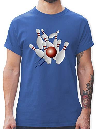 Bowling & Kegeln - Kegeln alle 9 Kegeln Kugel - 3XL - Royalblau - Bowling Hemd - L190 - Tshirt Herren und Männer T-Shirts