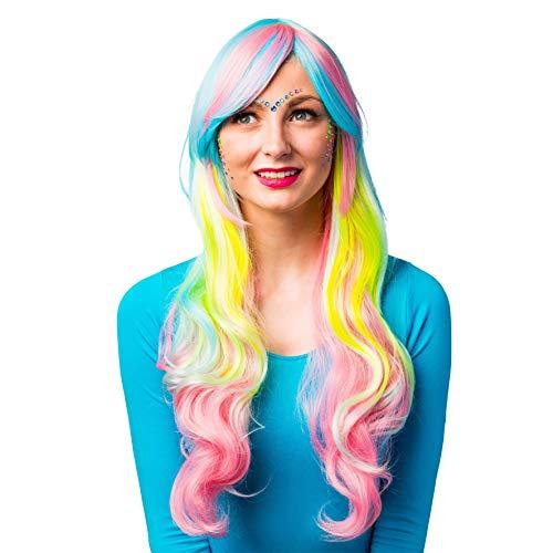 Damen Langhaar Perücke Regenbogen - Ideal für Cosplay, Fasching und Mottoparty zu Ihrem Kostüm als Meerjungfrau, Einhorn, Fee, Candy Girl oder Hippie