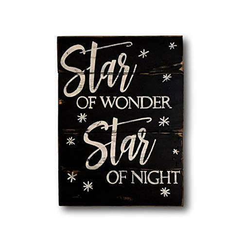 prz0vprz0v ster van Wonder hout kerstbord- kerstversiering - wij drie koningen hout kerstbord-kerst Mantel Decor 12 x 18 Inch houten teken