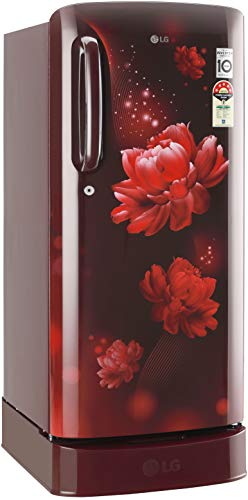 LG 190 L 4 Star Inverter Direct-Cool Single Door Refrigerator (GL-D201ASCY, Scarlet Charm, Base stand with Drawer)