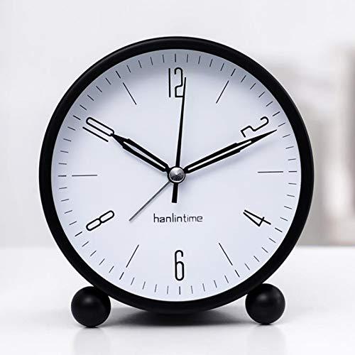 Despertador analógico, Reloj de Alarma Lyer, con Reloj de Alarma Digital Digital 3D Sin Ticker, Reloj de Alarma Vintage Deco, con función de sueño para Oficina para Dormir, sin Ruido (Color : 2)