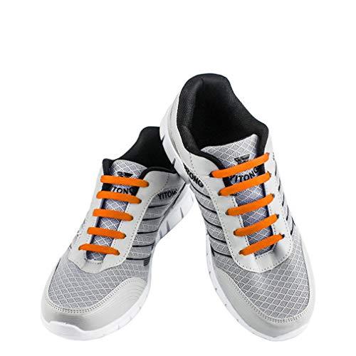 WELKOO® Lacci elastici in silicone che non vanno allacciati, impermeabili, adatti a scarpe per adulti - 16 pezzi, Taglia ADULT arancione