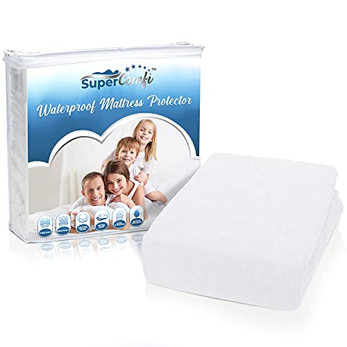 Supercomfi Queen Size Fitted Mattress Protector – Hypoallergenic, Ultra-Soft Terry Cloth Cotton Bed Topper – Waterproof, Noiseless, Cooling & Slip-Resistant Mattress Cover- White, 60 x 80 Inches