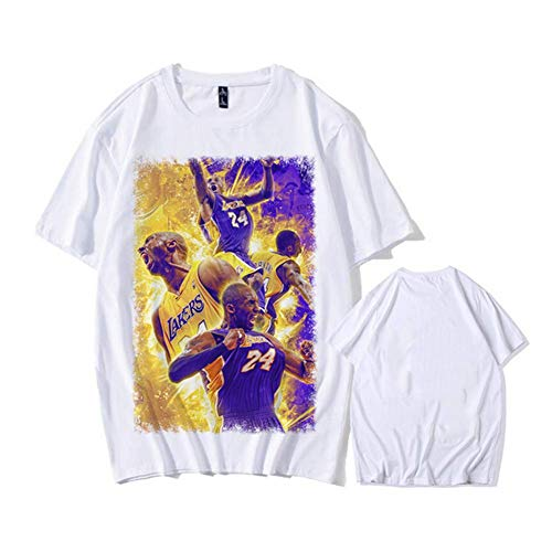 anking Trikots Lakers Kobe 1996-2016 Ruhestand Commemorative T-Shirt Kobe Baumwolle 24.08 Basketball Aussehen Kleid Kurzarm-Trikots,A,XL