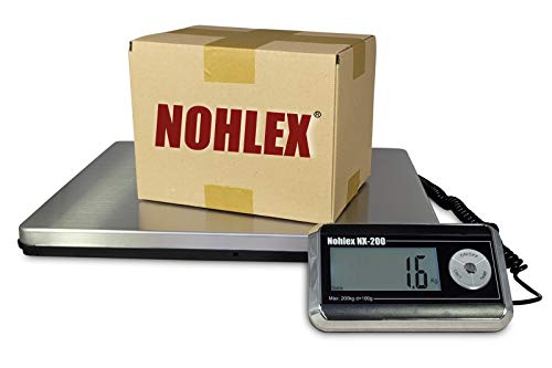Nohlex Paketwaage 200kg/100g. Robuste Plattformwaage, professionelle Qualität mit Edelstahl Wägeplatte 40x31cm inklusive Netzteil. Beleuchtetes Display, Tara-Funktion