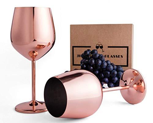 Stainless Steel Stemmed Wine Glasses - 18 oz Shatter Proof Copper Coated Unbreakable Wine Goblets (Set of 2)
