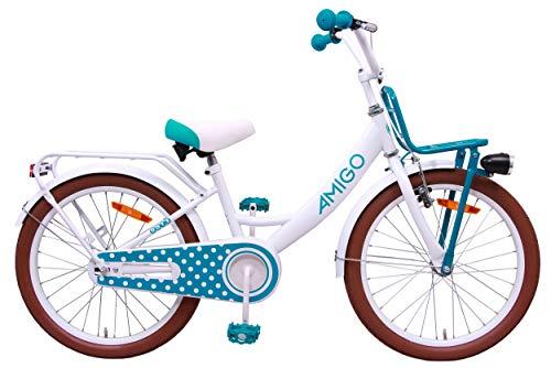 Amigo Dots - Kinderfahrrad für Mädchen - 20 Zoll - mit Handbremse, Rücktritt, Gepäckträger Vorne, fahrradständer und Beleuchtung - ab 5-9 Jahre - Weiß