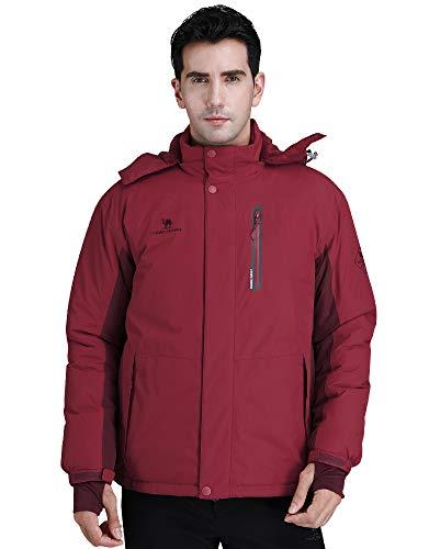CAMEL CROWN Ski Jacket Men Waterproof Warm Cotton Winter Snow Coat Mountain Snowboard Windbreaker Hooded Raincoat Wine Red L