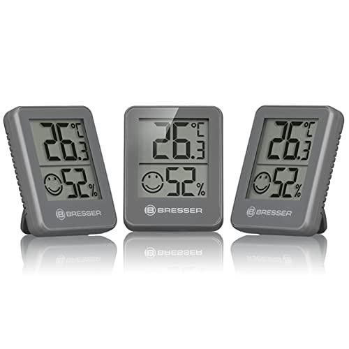 Bresser Temeo Hygro - Juego de termómetro e higrómetro (3 Unidades), Color Gris