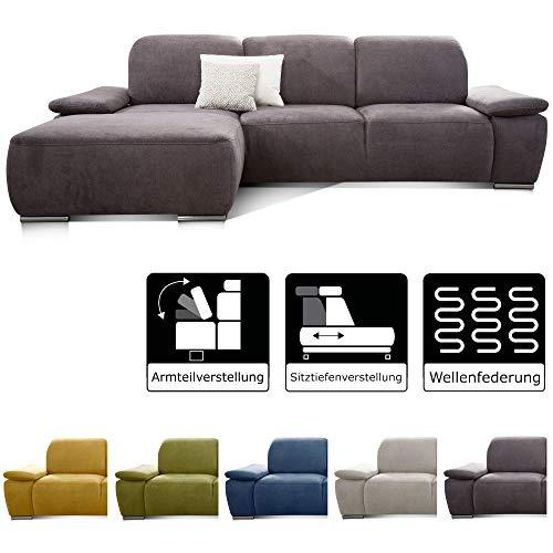 CAVADORE Ecksofa Tabagos / Eckcouch mit Longchair links / Modernes Sofa / Sitztiefenverstellung/ Armteilfunktion / 283 x 85 x 187 /Grau