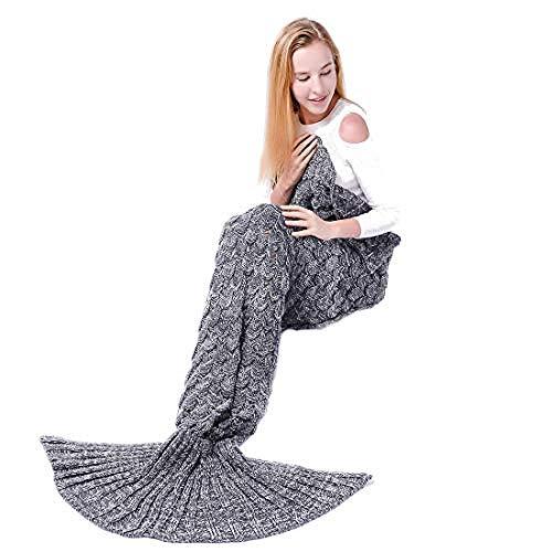 wscmd - Manta con diseño de sirena, regalo de cumpleaños o Navidad para niña, cálida tejida a mano, sofá y puente para damas