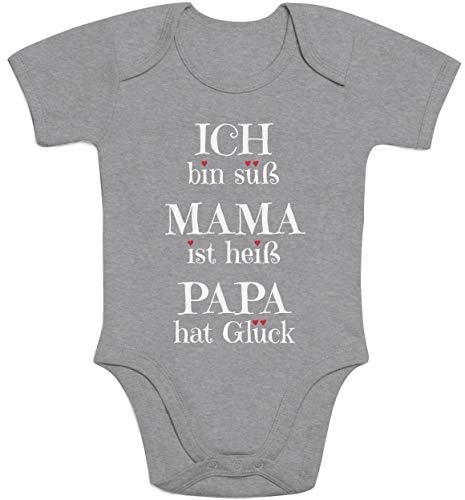 Süßer Spruch Ich Bin süss, Mama ist heiß, Papa hat Glück Baby Body Kurzarm-Body, Grau, 12 Monate