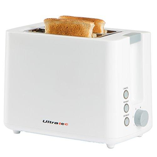 Ultratec Tostadora con dos ranuras, tostadora blanca para 2 rebanadas, minitostadora, tostadora para 2 tostadas, tostadora cool touch, tostadora pequeña, color blanco, aprox. 22,5 x 18 x 13,8 cm