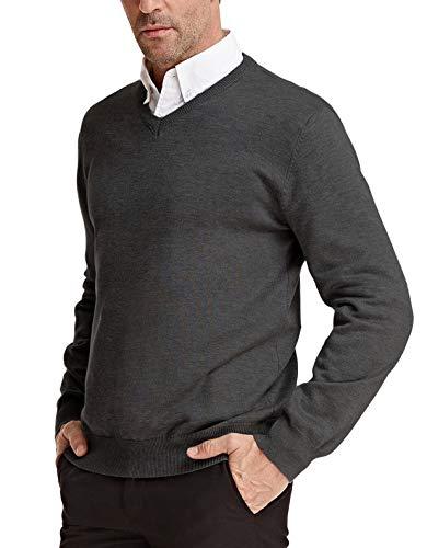 PAUL JONES Men's V-Neck Pullover Sweater Basic Long Sleeve Knitting Sweater Dark Grey