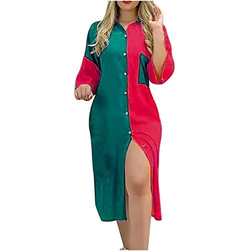 AMhomely Vestido de verano para mujer, para mujer, informal, cuello redondo, color a juego, camisa de manga larga, vestido largo, elegante, vestido de playa, casual, vestido de playa