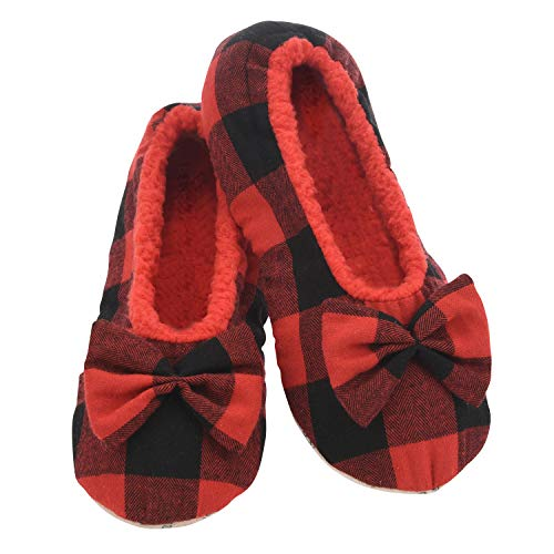 Snoozies Slumbies Slippers for Women - Buffalo Plaid Ballerina Womens Slippers - Fuzzy House Slippers for Women - Lightweight Slippers - Red - X-Large