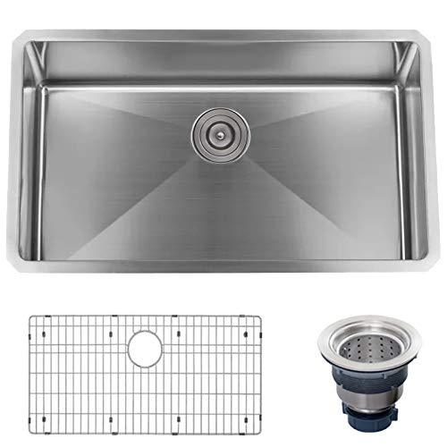 Miseno MSS3018SR Undermount 30' X 18' Stainless Steel (16 gauge) Kitchen Sink - Includes Basin Rack and Drain