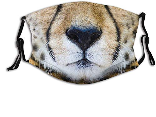 Funny Mouth of The Tiger Face Mask Scarf, Anti Dust Washable Reusable-Breathable with Filters, for Adults Men Women-Fast Like a Cheetah Mouth4-1 PCS