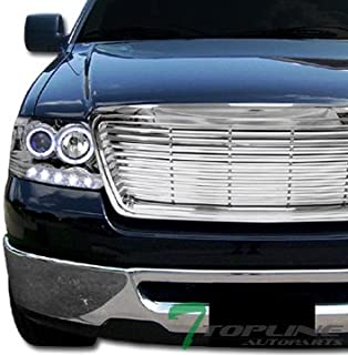 Topline Autopart Chrome Horizontal Billet Front Hood Bumper Grill Grille ABS For 04-08 Ford F150
