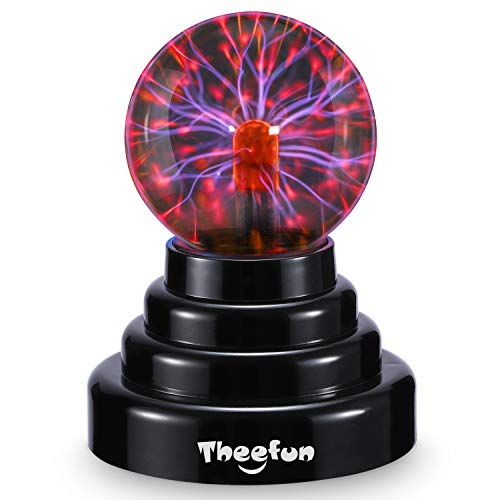Plasma Ball, Theefun 3 Inch Magic Touch Sensitive Plasma Lamp Nebula Sphere Globe Novelty Toy, USB Or Battery Powered for Parties, Decorations, Prop, Kids, Bedroom, Home