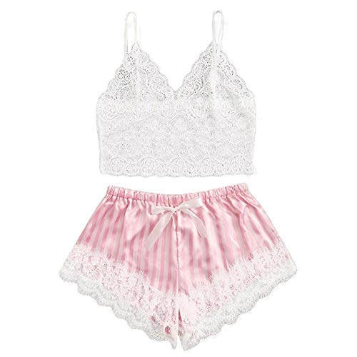 YPDM Summer pajamas,Pajamas For Women Sleepwear Women V-Neck Lace Bralette Pajamas Sleepwear Striped Satin Shorts Lingerie Set Pyjamas,Black,S